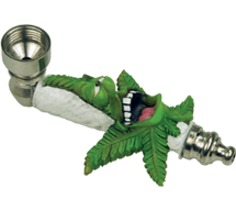Metal Laughing Cannabis Leaf Smoking Pipe