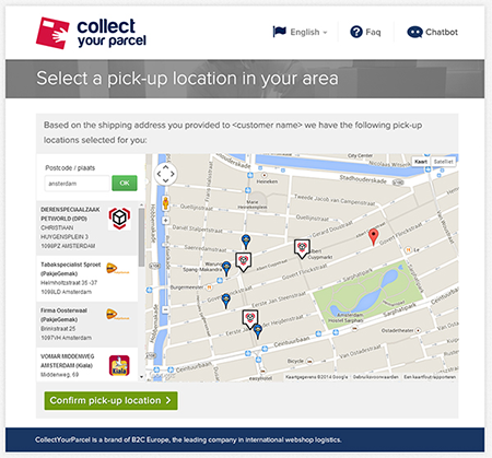 Pick-up locations close to your place