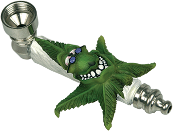 Metal Cannabis Leaf With Glasses Smoking Pipe