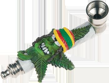 Metal Rasta Weedleaf Smoking Pipe