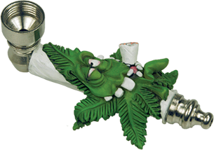 Metal Stoned Marijuana Leaf Smoking Pipe