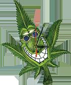 smiling cannabis clock